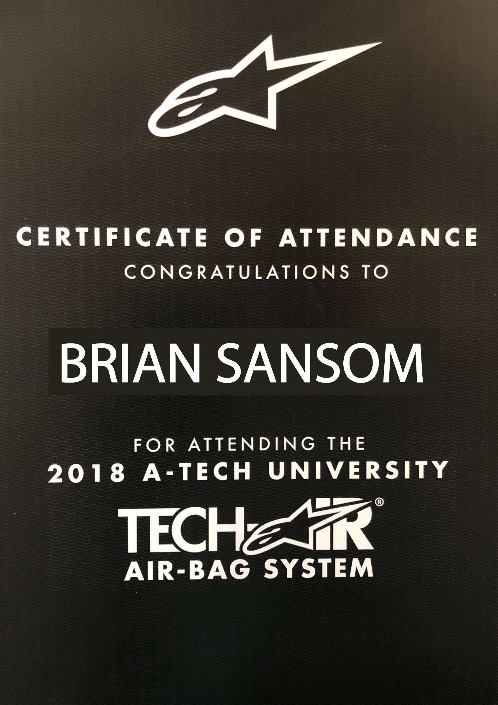 Certificate of attendance Tech Air Aplinestars 2018 A-Tech university