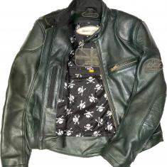 Racing Green Heavy Lambskin with Black Skulls